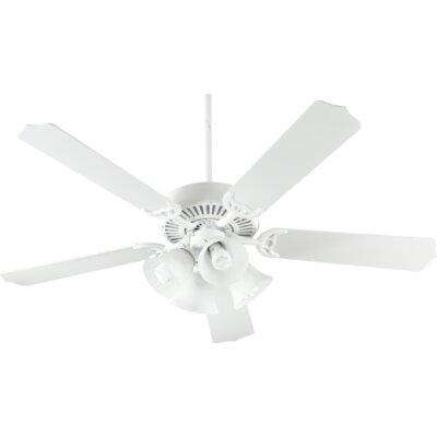 52 Capri V 5-Blade Ceiling Fan Finish: White