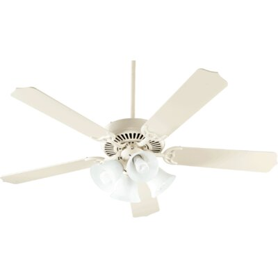 52 Staffordshire 5-Blade Ceiling Fan Finish: Antique White, Bulb Type: Fluorescent