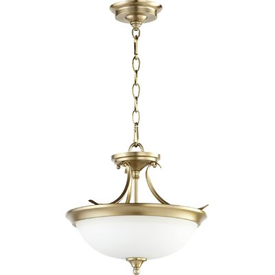 Harnois 2-Light Bowl Pendant Finish: Aged Brass