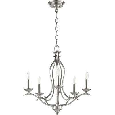 Harnois 5-Light Candle-Style Chandelier Finish: Satin Nickel
