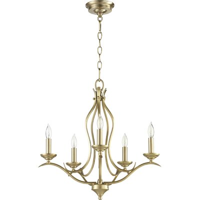 Harnois 5-Light Candle-Style Chandelier Finish: Aged Brass