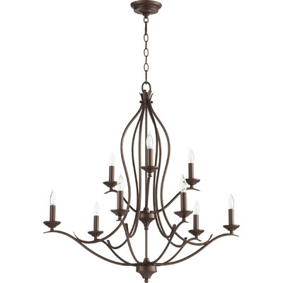 Harnois 9-Light Candle-Style Chandelier Finish: Oiled Bronze