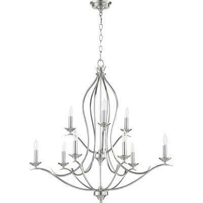 Harnois 9-Light Candle-Style Chandelier Finish: Satin Nickel