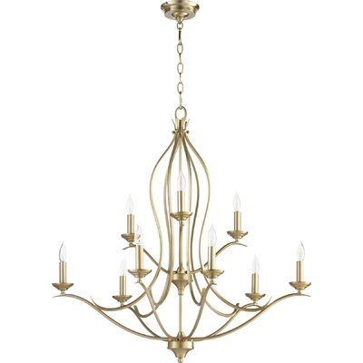 Harnois 9-Light Candle-Style Chandelier Finish: Aged Brass