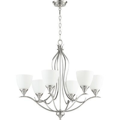 Harnois 6-Light Shaded Chandelier Finish: Satin Nickel