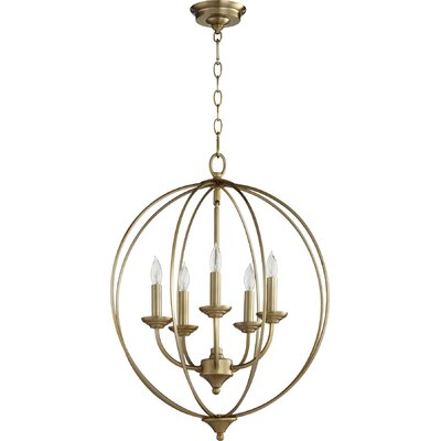 Harnois 5-Light Globe Pendant Finish: Aged Brass