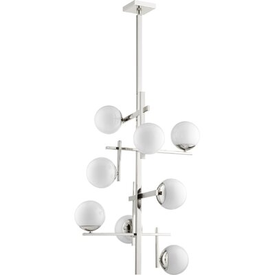 Atom 8-Light Shaded Chandelier Finish: Polished Nickel