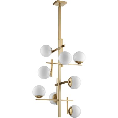 Atom 8-Light Shaded Chandelier Finish: Aged Brass