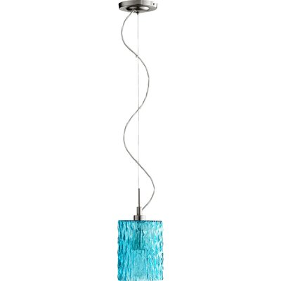 Transitional 1-Light Pendant Finish: Satin Nickel, Pendant: Aqua Ice