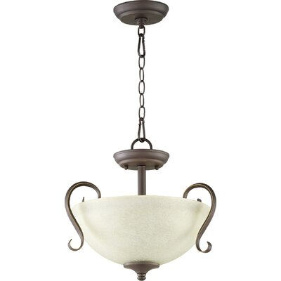 Powell 2-Light Convertible Inverted Pendant Finish: Old World, Shade Color: Amber