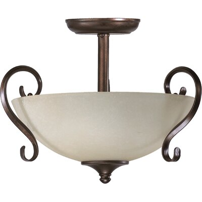 Powell 2-Light Convertible Inverted Pendant Finish: Toasted Sienna, Shade Color: Amber
