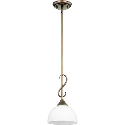 Powell 1-Light Mini Pendant Finish: Oiled Bronze w/ Satin Opal