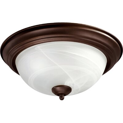 Flush Mount with Faux Alabaster Glass in Cobblestone Finish: Old World, Size: 6 H x 8 W x 8 D