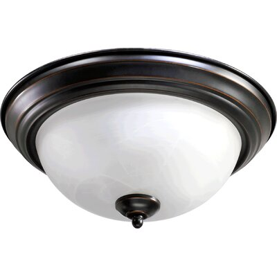Flush Mount Faux Alabaster Glass Size: 6.75 H x 15.5 W x 15.5 D, Finish: Black