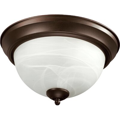Flush Mount Faux Alabaster Glass Size: 6.75 H x 15.5 W x 15.5 D, Finish: Oiled Bronze