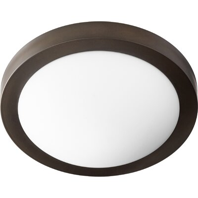 Single Light Flush Mount Finish: Oiled Bronze w/ Satin Opal, Size: 3.75 H x 13 W