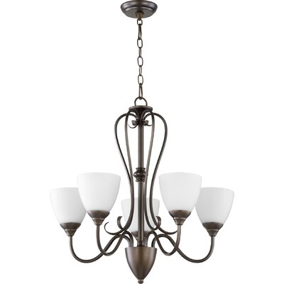 Powell 5-Light Shaded Chandelier Finish: Oiled Bronze, Shade Color: Satin Opal