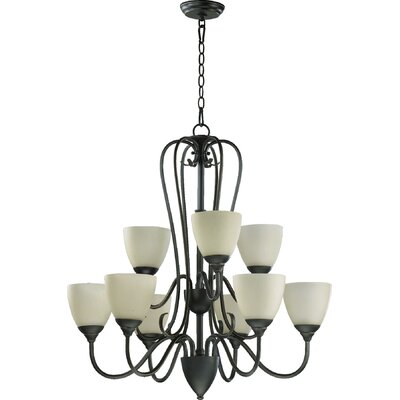 Powell 9-Light Shaded Chandelier Finish: Old World, Shade Color: Amber Scavo