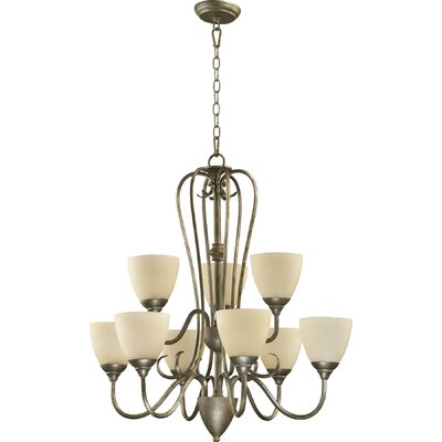 Powell 9-Light Shaded Chandelier Finish: Mystic Silver, Shade Color: Amber Scavo