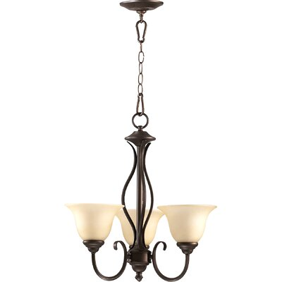 Spencer 3-Light Shaded Chandelier Finish: Oiled Bronze
