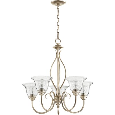 Spencer 5-Light Shaded Chandelier Finish: Aged Silver Leaf