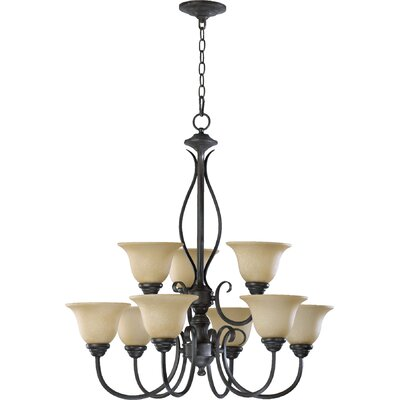 Spencer 9-Light Shaded Chandelier Finish: Toasted Sienna