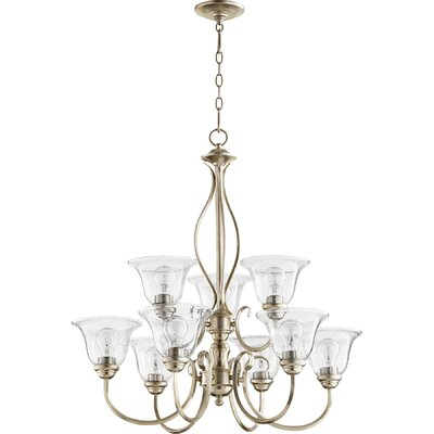 Spencer 9-Light Shaded Chandelier Finish: Aged Silver Leaf