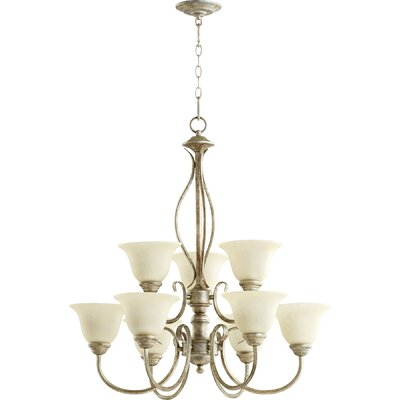 Spencer 9-Light Shaded Chandelier Finish: Mystic Silver
