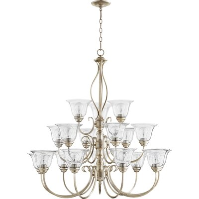 Spencer 18-Light Shaded Chandelier Finish: Aged Silver Leaf