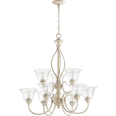 Spencer 9-Light Shaded Chandelier Finish: Persian White