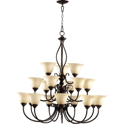 Spencer 18-Light Shaded Chandelier Finish: Oiled Bronze
