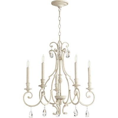 Ansley 5-Light Candle-Style Chandelier Finish: Persian White