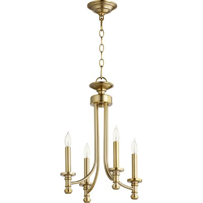 Rossington 4-Light Candle-Style Chandelier Finish: Aged Brass