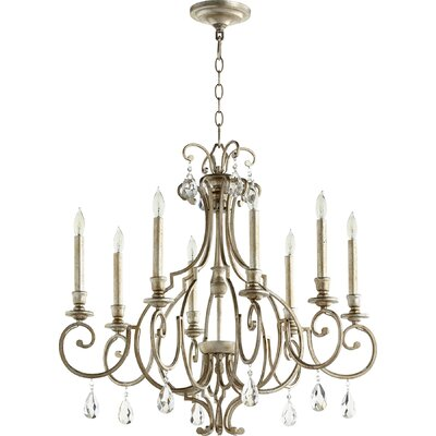 Ansley 8-Light Candle-Style Chandelier Finish: Aged Silver Leaf