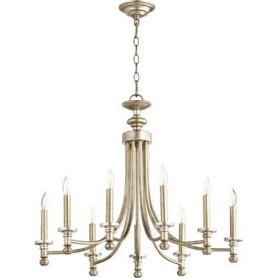 Rossington 9-Light Candle-Style Chandelier Finish: Aged Silver Leaf