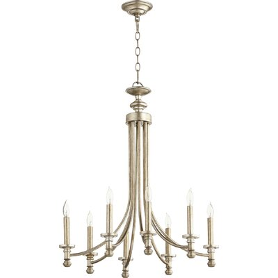 Rossington 8-Light Candle-Style Chandelier Finish: Aged Silver Leaf