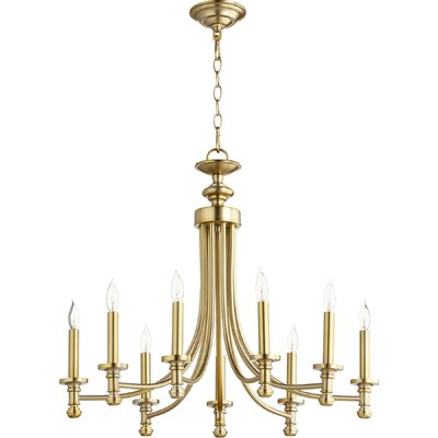 Rossington 9-Light Candle-Style Chandelier Finish: Aged Brass