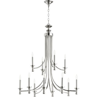 Rossington 12-Light Candle-Style Chandelier Finish: Polished Nickel