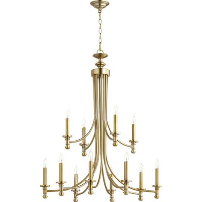 Rossington 12-Light Candle-Style Chandelier Finish: Aged Brass