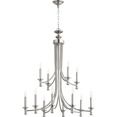 Rossington 12-Light Candle-Style Chandelier Finish: Satin Nickel