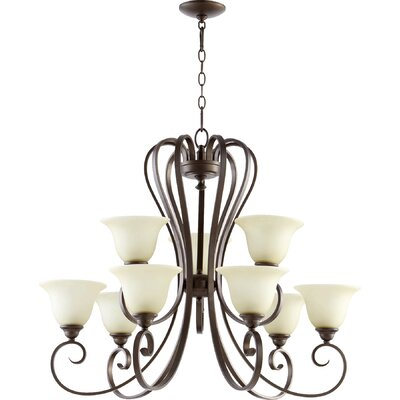 Celesta 9-Light Shaded Chandelier Finish: Oiled Bronze