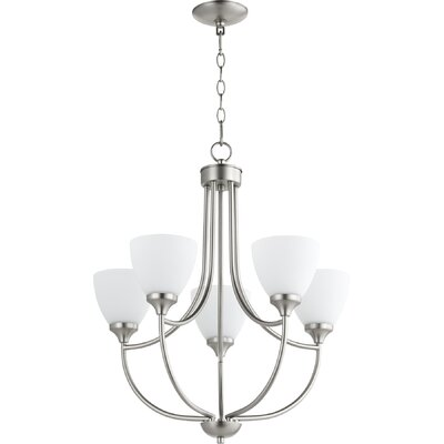 Enclave 5-Light Shaded Chandelier Finish: Satin Nickel