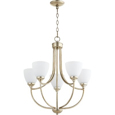 Enclave 5-Light Shaded Chandelier Finish: Aged Silver Leaf