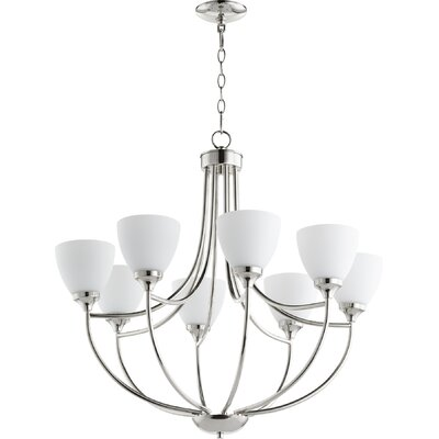 Enclave 8-Light Shaded Chandelier Finish: Polished Nickel
