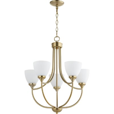 Enclave 5-Light Shaded Chandelier Finish: Aged Brass