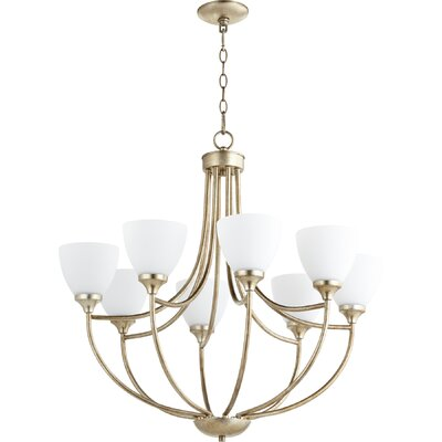 Enclave 8-Light Shaded Chandelier Finish: Aged Silver Leaf