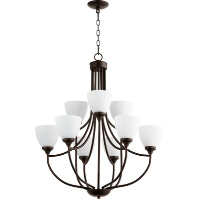 Enclave 9-Light Shaded Chandelier Finish: Oiled Bronze