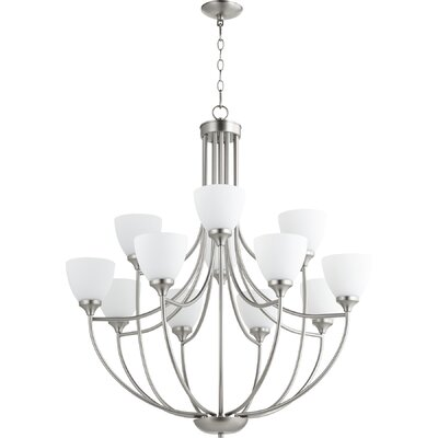 Enclave 12-Light Shaded Chandelier Finish: Satin Nickel