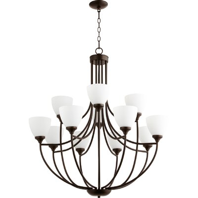 Enclave 12-Light Shaded Chandelier Finish: Oiled Bronze