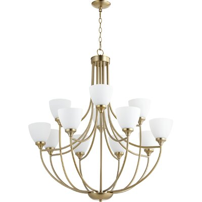 Enclave 12-Light Shaded Chandelier Finish: Aged Brass